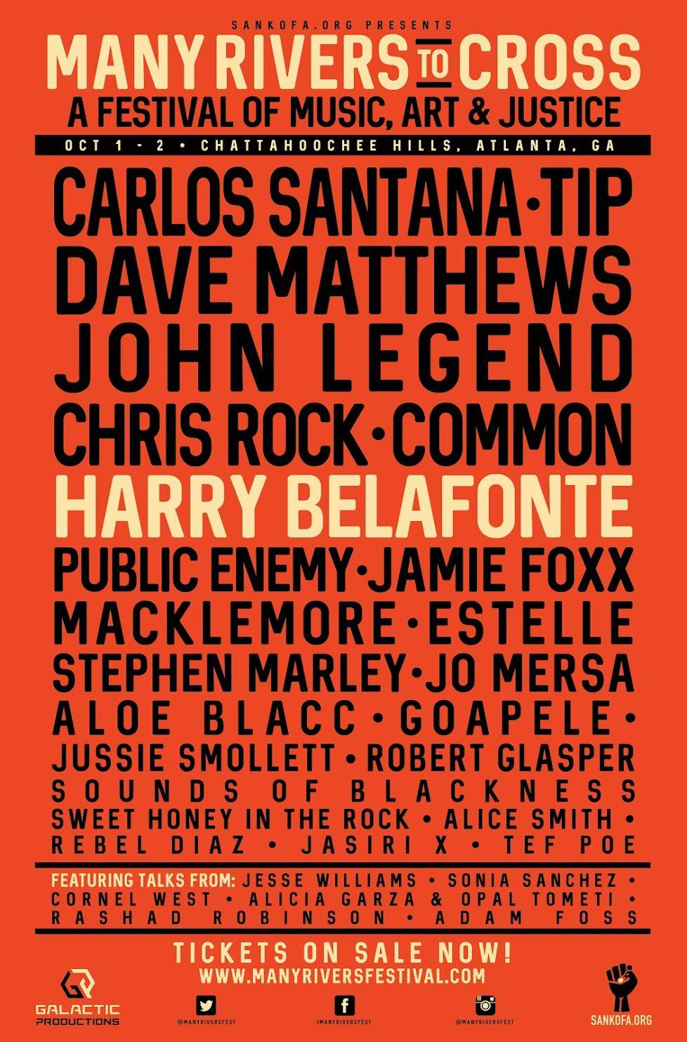 RT @sankofadotorg: Join #ManyRiversFest in ATL on Oct 1-2 Dave Matthews, John Legend, Carlos Santana, Common, & more! https://t.co/WPn520E0…