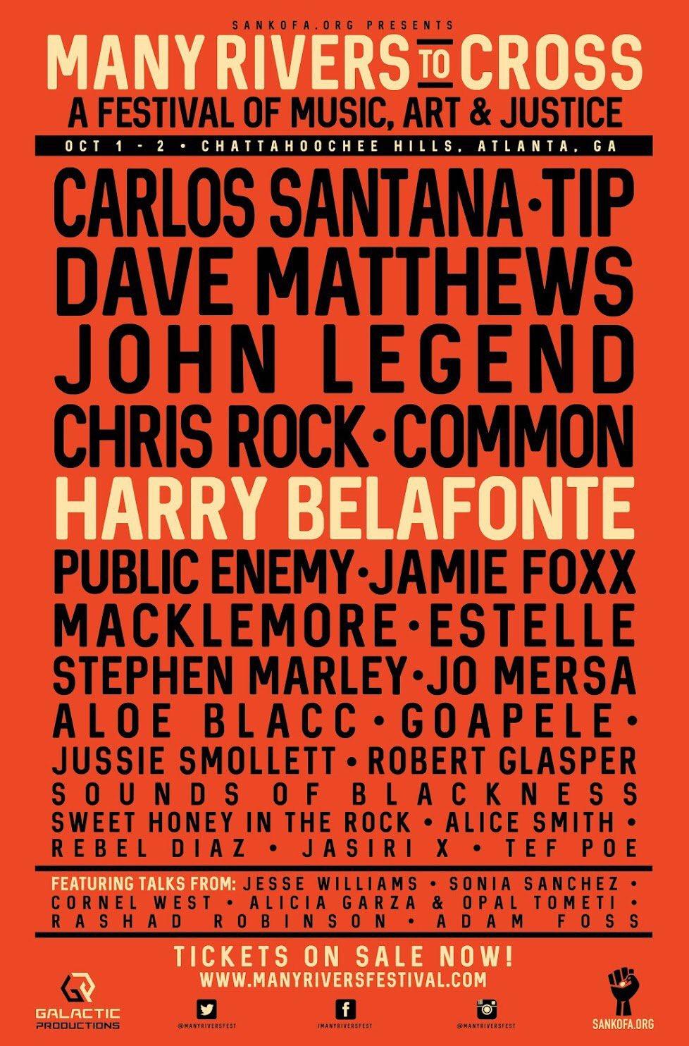 RT @sankofadotorg: Join #ManyRiversFest in ATL on Oct 1-2 with John Legend, Dave Matthews, Jesse Williams, Harry Belafonte + many more! htt…