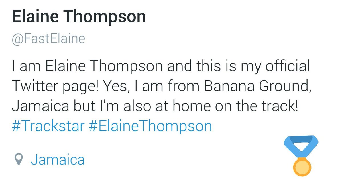 Follow our Brand Ambassador Elaine Thompson on Twitter.  Her official page: @FastElaine  #ElaineThompson https://t.co/LYjeDTsJCv