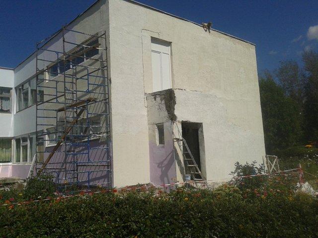 Продолжается ремонт фасада детского сада №28
