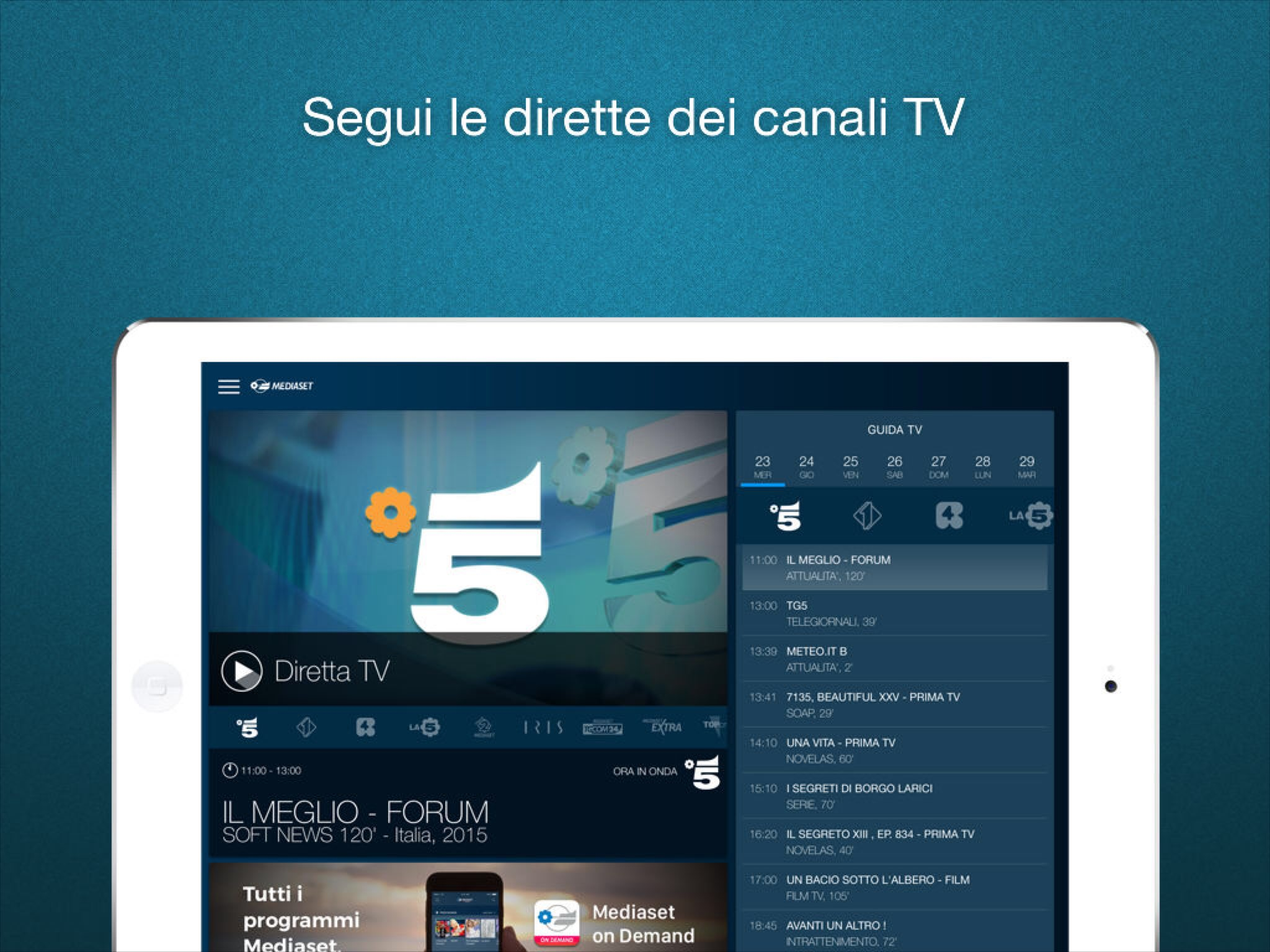 App mediaset per vedere tv su iPhone e iPad