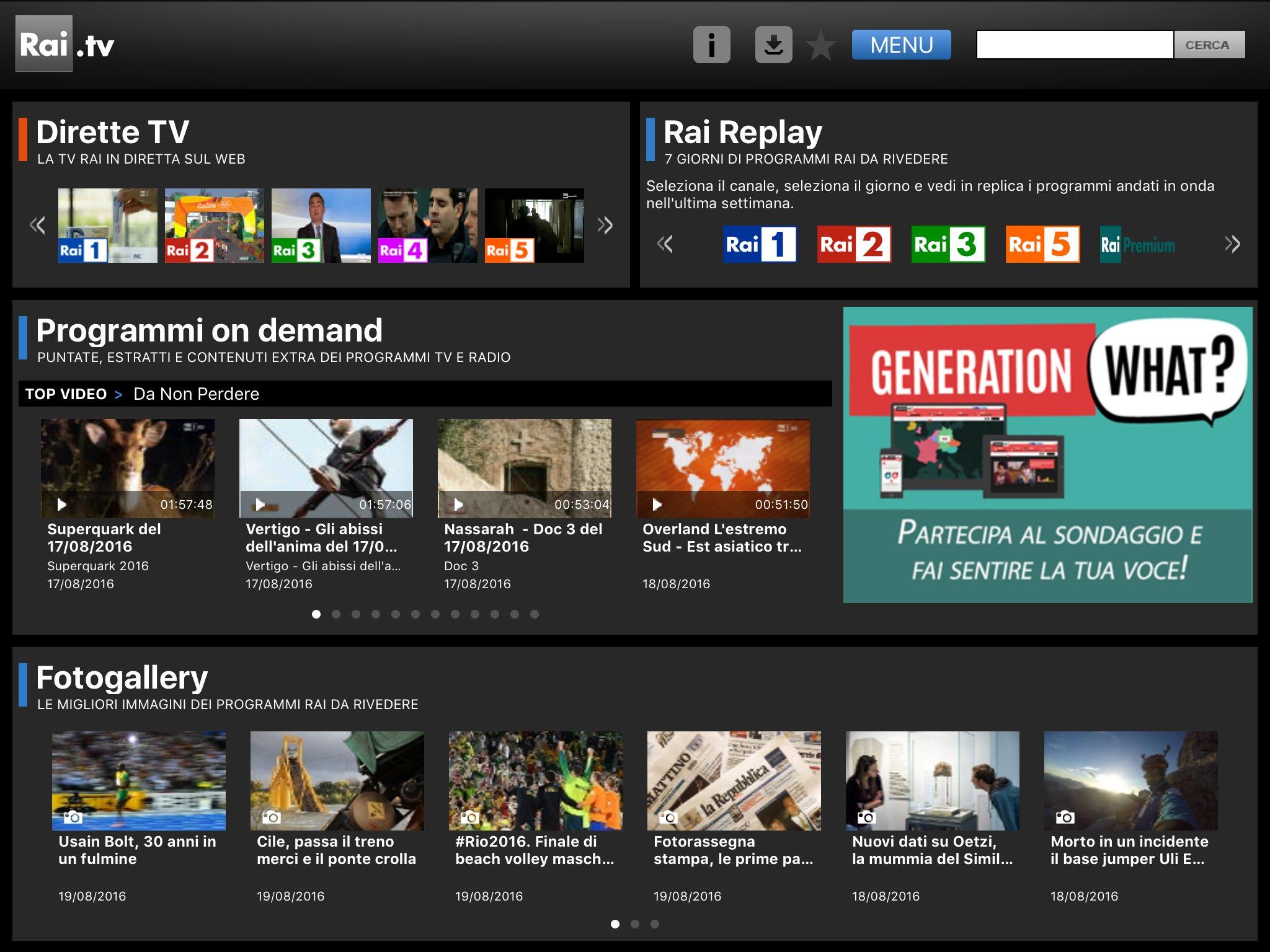 Applicazione rai.it tv su iPad