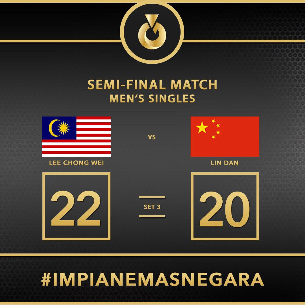Live Update   Congratulations Datuk Lee Chong Wei on qualifying for the final!  Go for Gold! #ImpianEmasNegara https://t.co/b6VoyPpow9