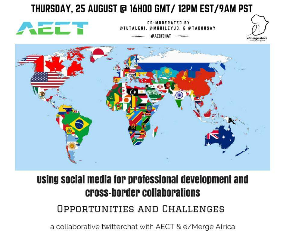 Join @emergeAfrica & @AECT tweet chat 25 Aug 6pm SA 4pm Accra 5pm Abuja with @tutaleni @tadousay @Mrileyjo #aectchat https://t.co/wjgeg5l9Ly