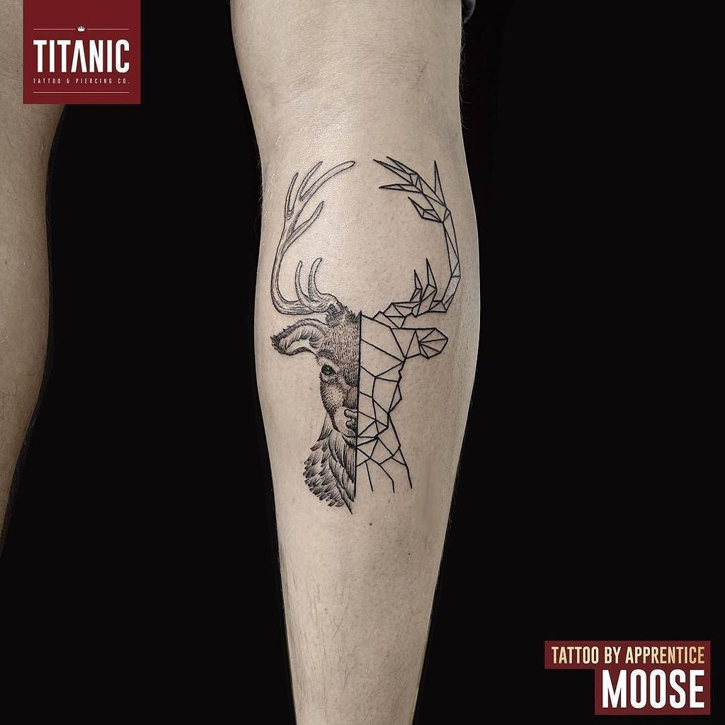Titanic Tattoos على تويتر Half Geometric Stag Design Done