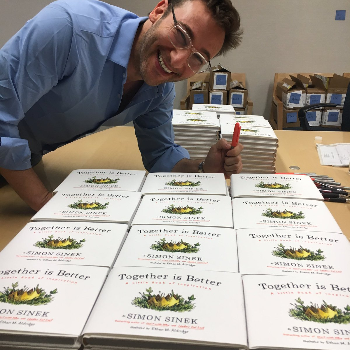 Signing copies of my new book, Together Is Better. It's due out Sept 13. You can preorder anytime. So, so excited!!