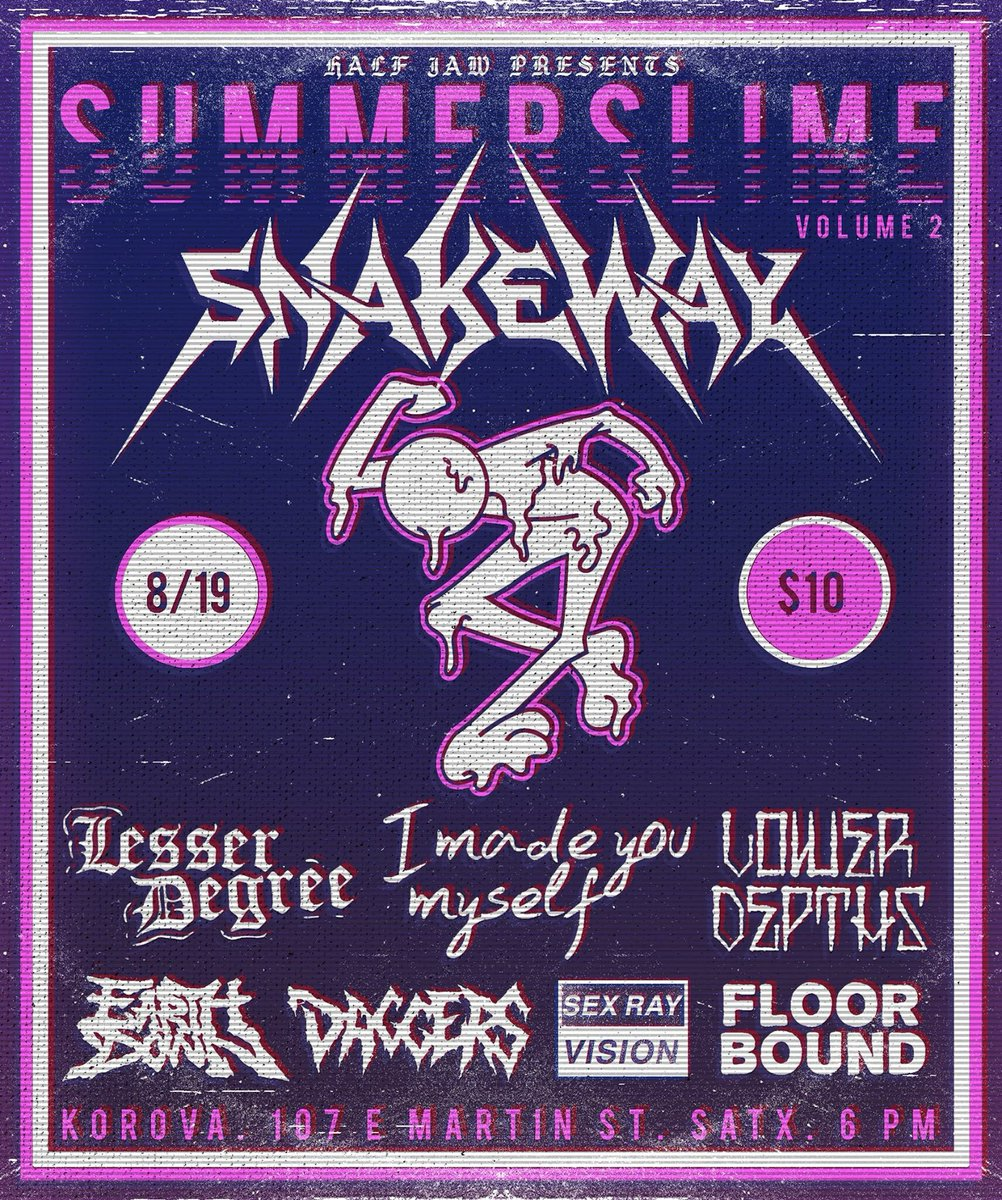 Change in set times tonight due to a work conflict. Come early & stay late! If u leave after Snakeway you're a cop.