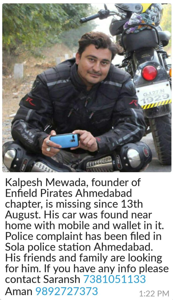 Kalpesh Mewada, founder of @EnfieldPirates #Ahmedabad Chapter is Missing! Please #Help & Contact Saransh 7381051133 https://t.co/26kjy05nZl