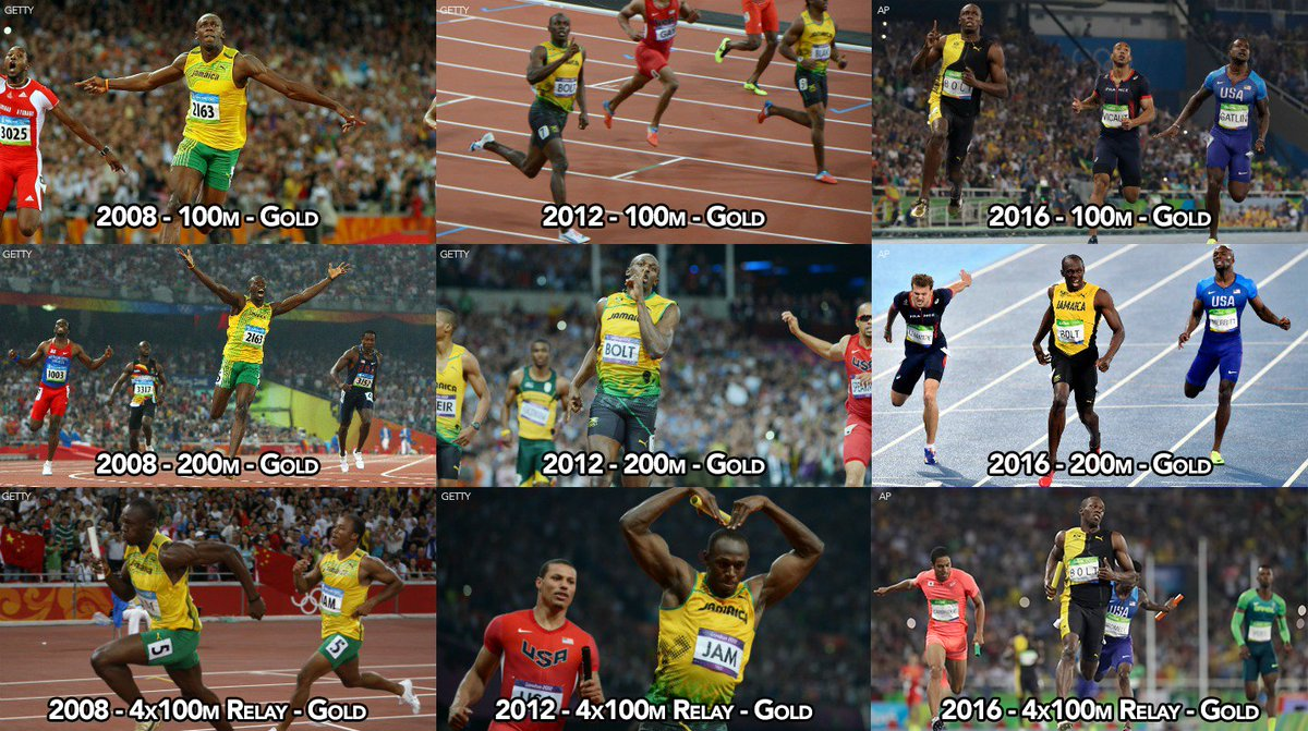In last 3 Olympics, UsainBolt spent 6 min & 50 sec on the track. He  won 9 Gold Medals and set 3 Olympic records. | Good Morning America |  Scoopnest