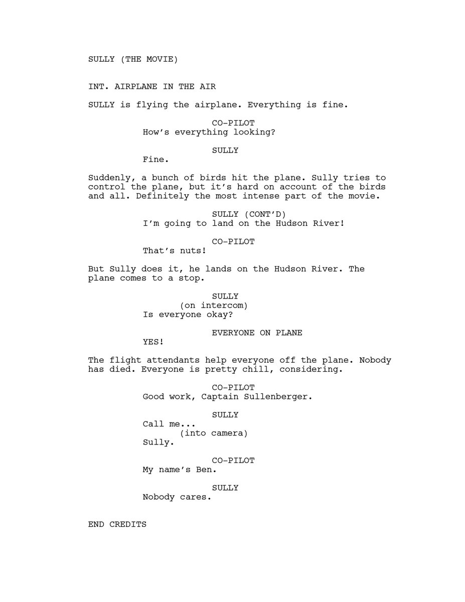 Got my hands on the screenplay for Sully, wow https://t.co/uctWRkCaIO