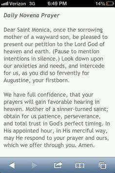 Novena prayer to st monica