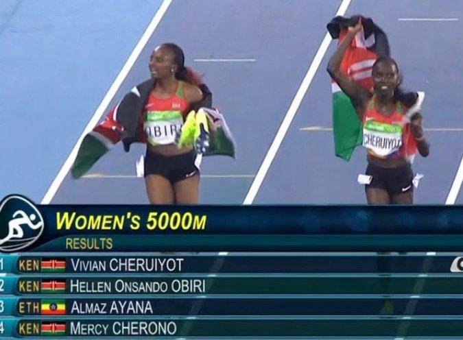 Standing Ovation to #TeamKenya 5,000m women team.  We salute Vivian Cheruiyot & Hellen Obiri for the Gold & Silver. https://t.co/bPVRoQfoId