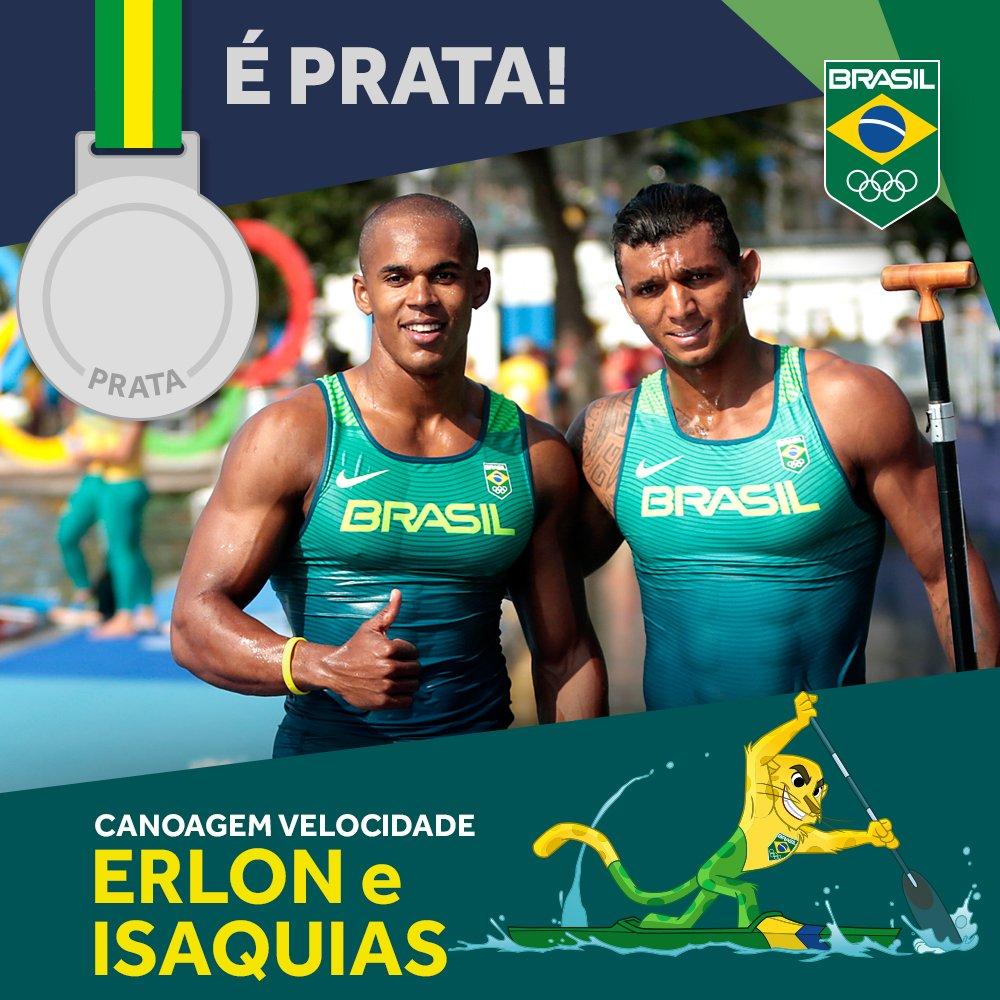 É #prata! Isaquias Queiroz e Erlon Souza 🇧🇷 chegam em 2º nos 1000m C2 #CanoagemVelocidade. Parabéns #EuSouTimeBrasil