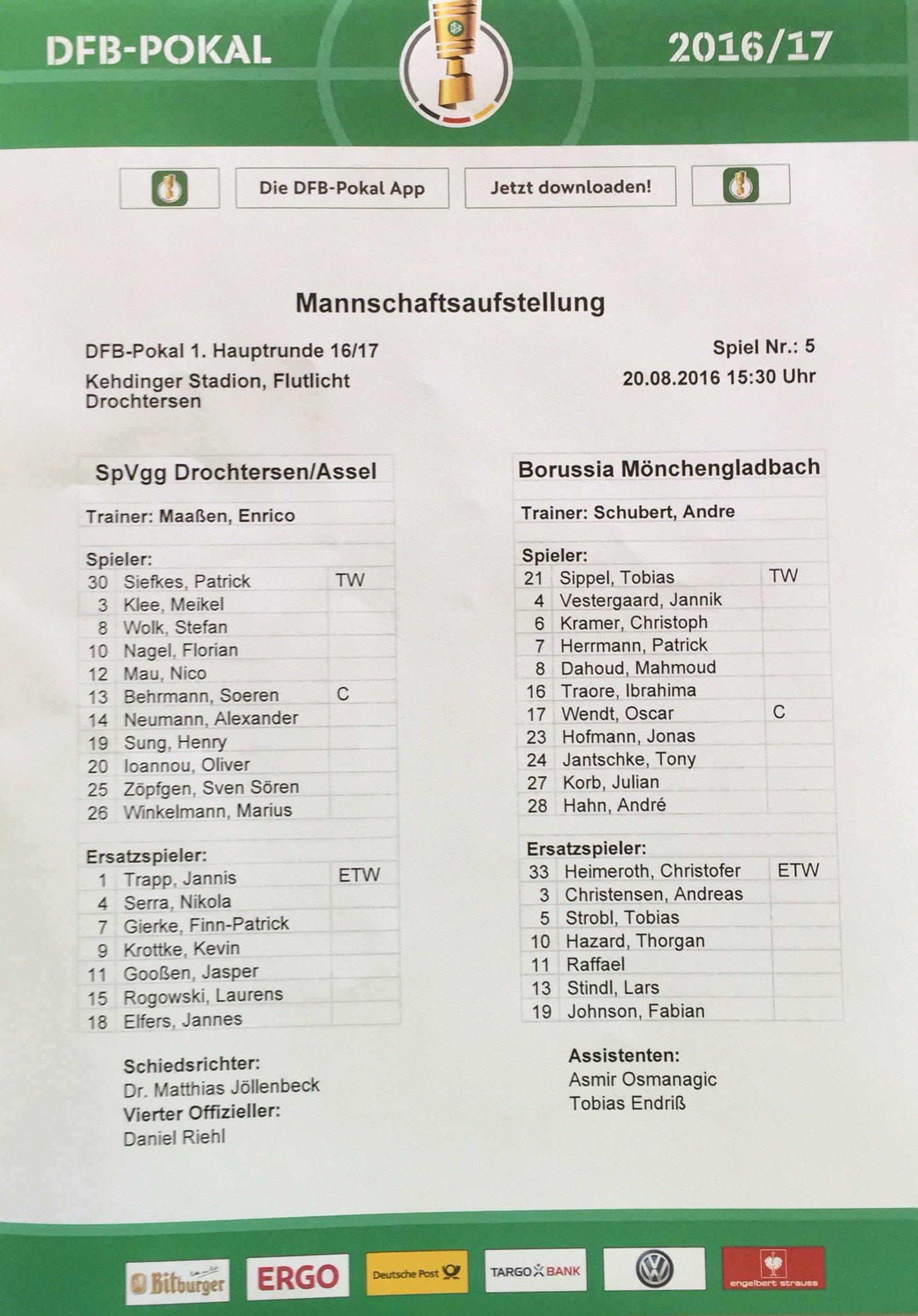Borussia On Twitter Die Aufstellungen Der Live Ticker In Unserer