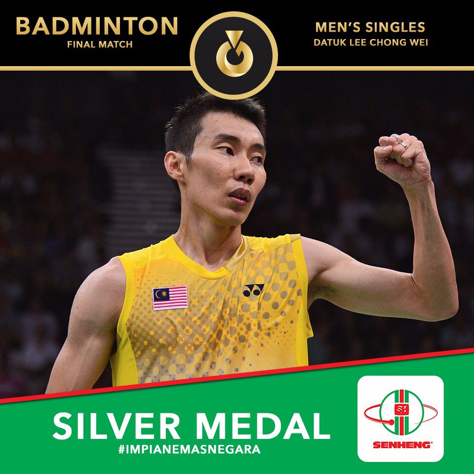 Silver Medal in Badminton Men's Singles Rio 2016!   Congratulation to Dato' Lee Chong Wei! We are proud of you!