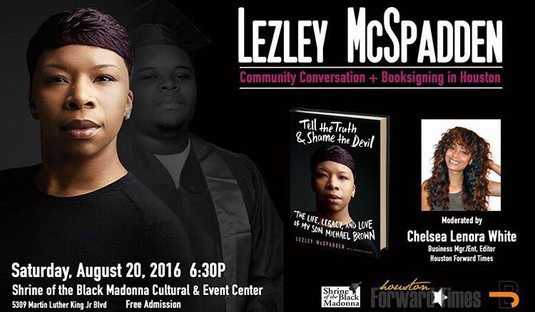 Houston: At 6:30pm, join Lezley McSpadden (the mother of Mike Brown) speaks @shrinecenterhou. #MikeBrown https://t.co/TPh05sKMMP
