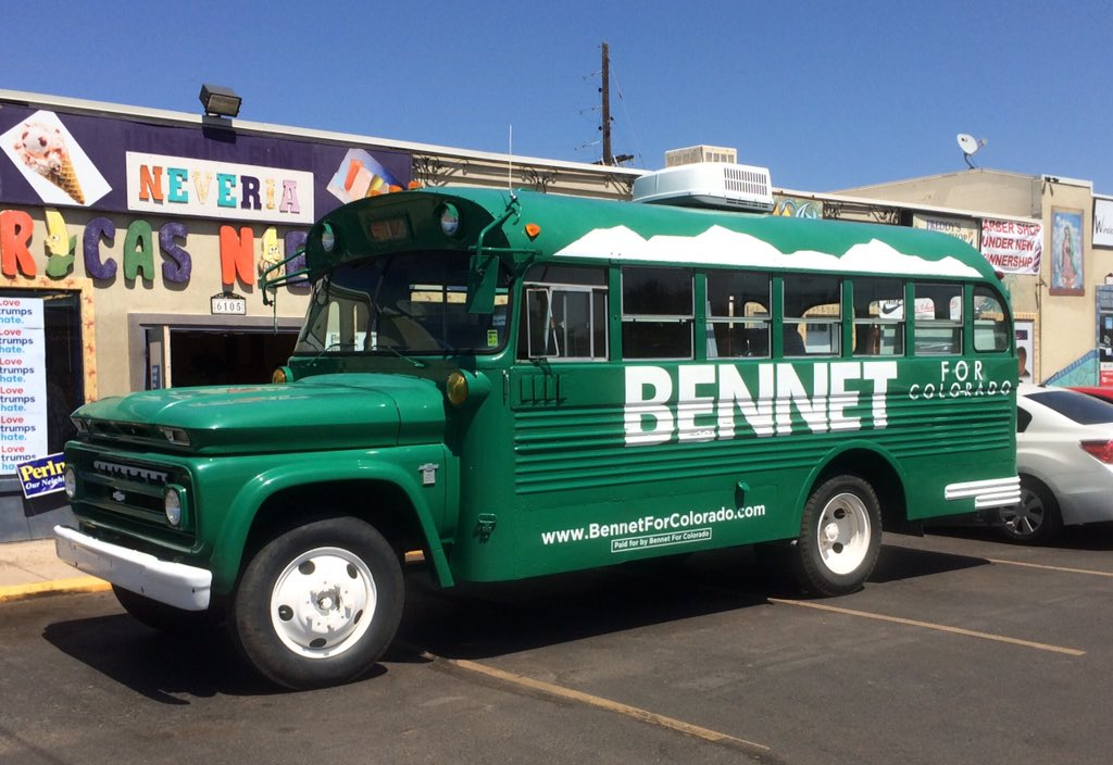 U.S. Sen. Michael Bennet's green,vintage campaign bus brought out of the barn and the mothballs, making it's first 2016 appearance on the campaign trail outsidethe Commerce City Democratic Party Clinton/Bennet coordinated campaign office headquarters Saturday.