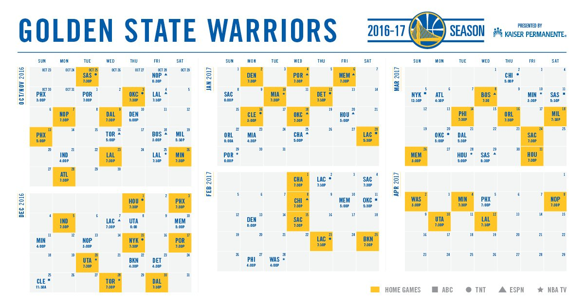 photograph about Golden State Warriors Printable Schedule named Golden Nation Warriors upon Twitter: \