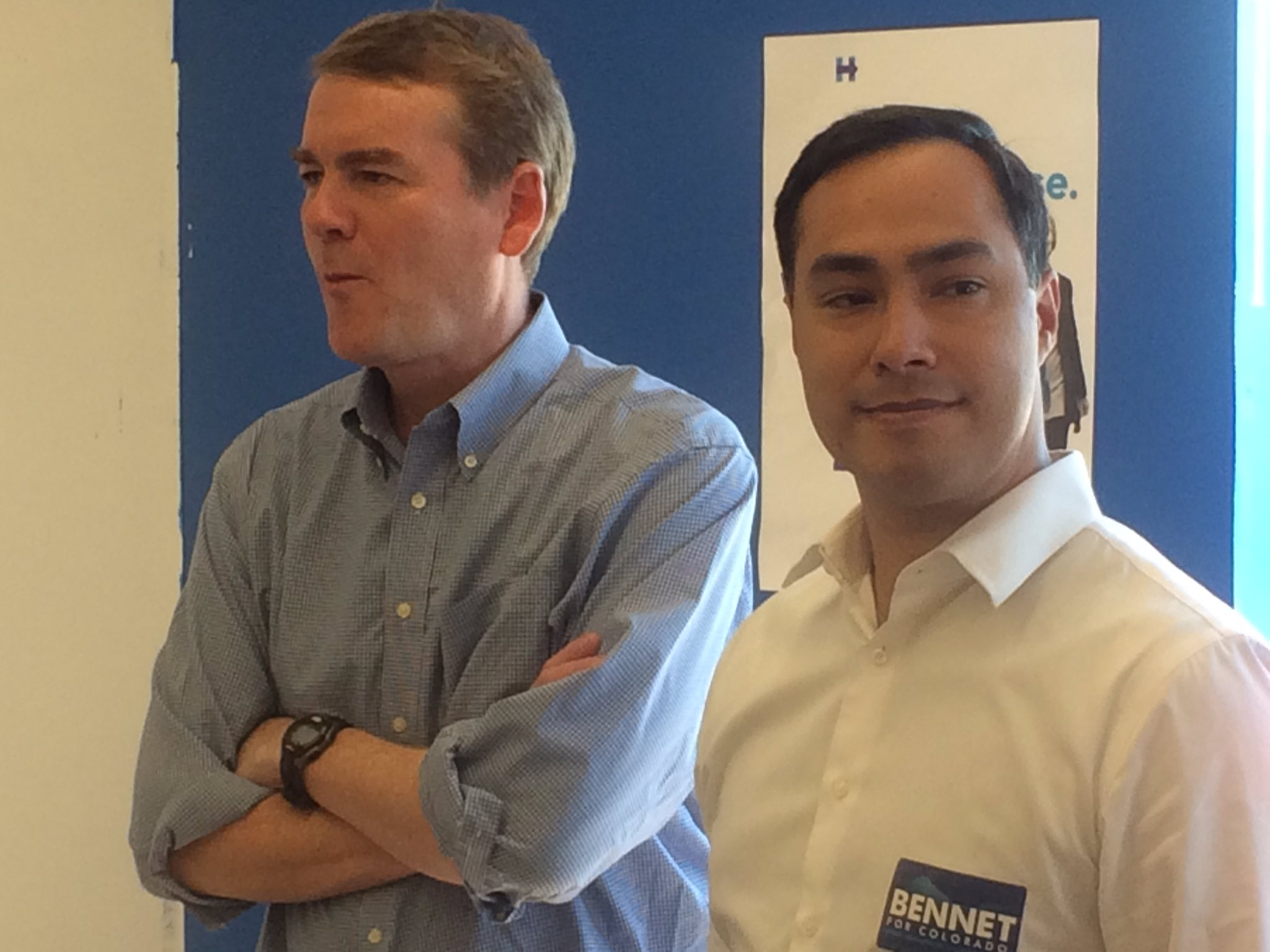 Colorado U.S. Sen. Michael Bennet and Texas U.S. Rep. Joaquin Castro at the Commerce City Democratic Party office headquarters opening Saturday (Photo by Ernest Luning/The Colorado Statesman).