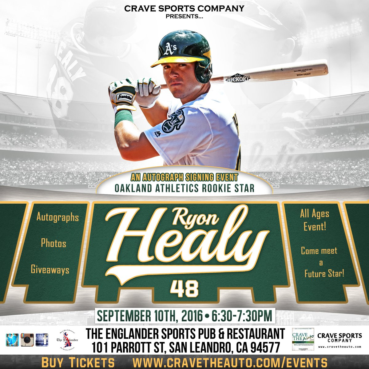 f2842a635c2 Tickets items on sale for the RYON HEALY signing SEPT10-Don t miss out!  http   www.cravetheauto.com ryon-healy   Athleticspic.twitter.com UP1LquC9eh