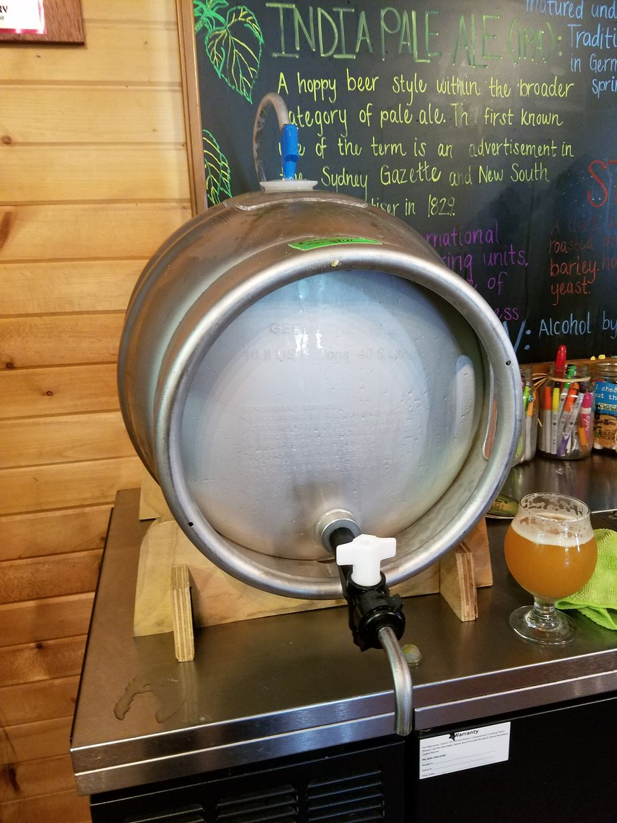 #KingSueZee firkin is tapped! King Sue, dry hopped with Nelson Sauvin hops. Dank, hoppy, delicious @TGBrews https://t.co/a4AGC4MKMl