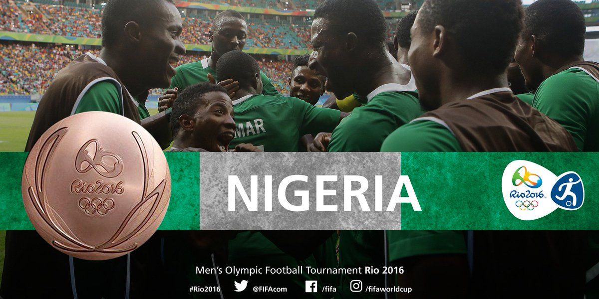 CONGRATULATIONS #NGR! #NGR win #bronze at the Men's Olympic #Football Tournament #Rio2016 after defeating #HON