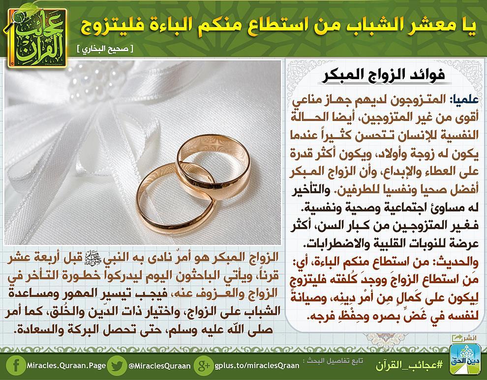 عجائب القرآن Auf Twitter يا معشر الشباب من استطاع منكم الباءة فليتزوج أدرك الباحثون اليوم خطورة التأخر في الزواج Https T Co K8uhbpolqd