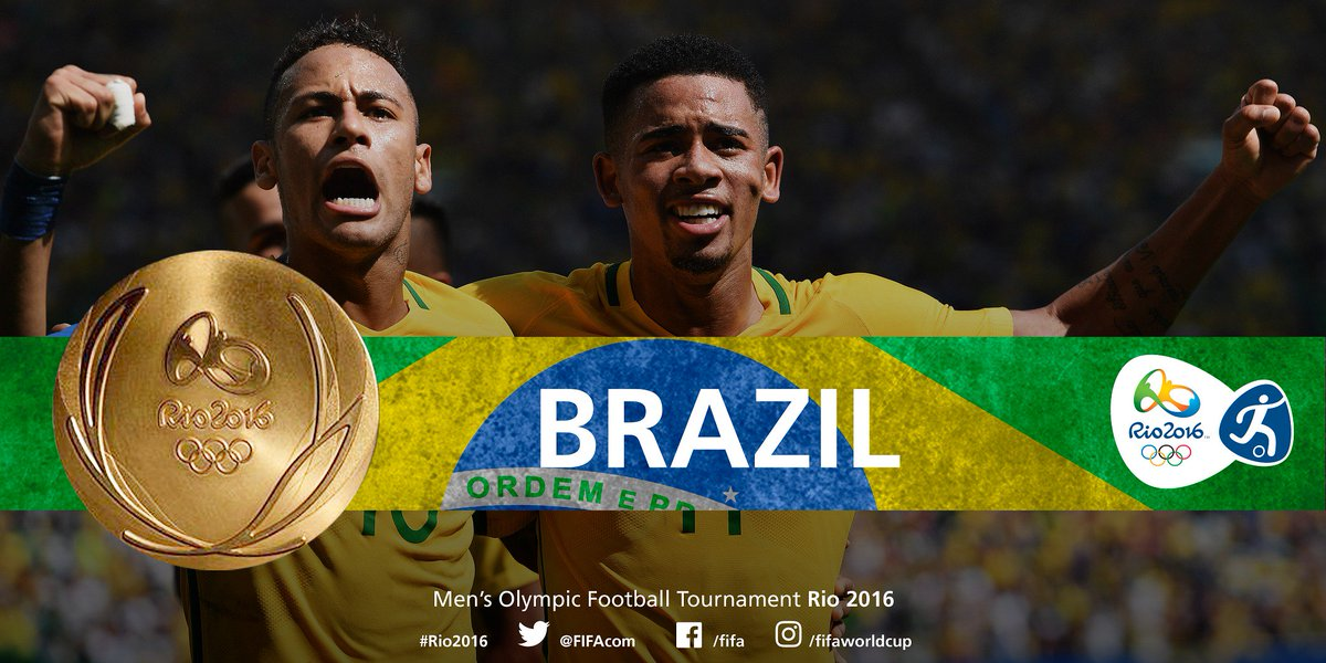 CONGRATULATIONS #BRA! #BRA win #gold for the first time at the Men's Olympic #Football Tournament! #Rio2016