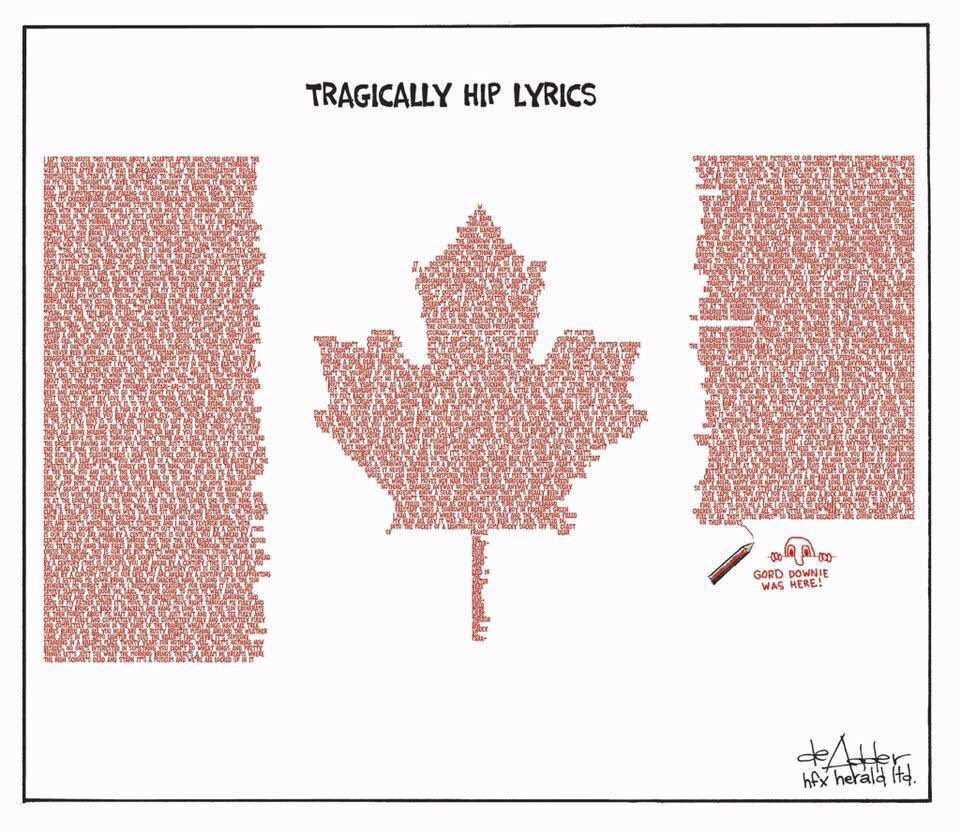 True patriot love...we're all with Gord tonight! #TragicallyHip #can #thehip https://t.co/7pr84NrHTW