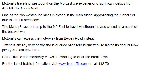 One westbound lane closed on m5 east near the tunnel exit at