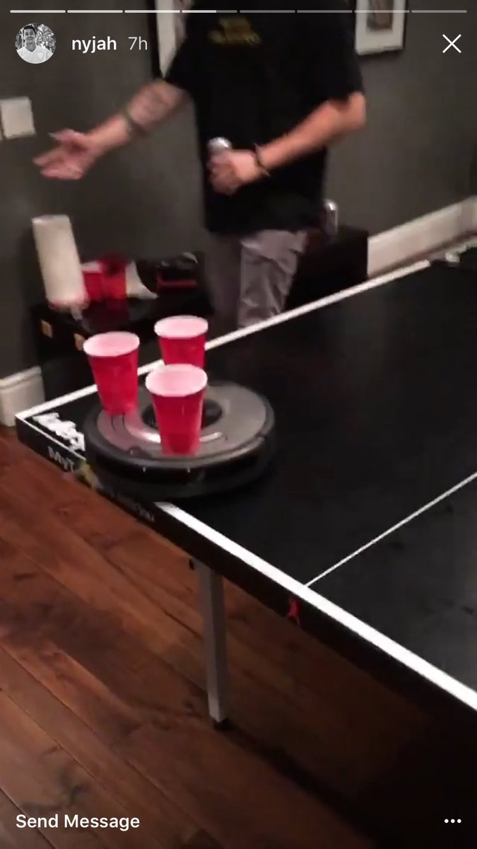 jeffrey on twitter using roomba to make moving beer pong