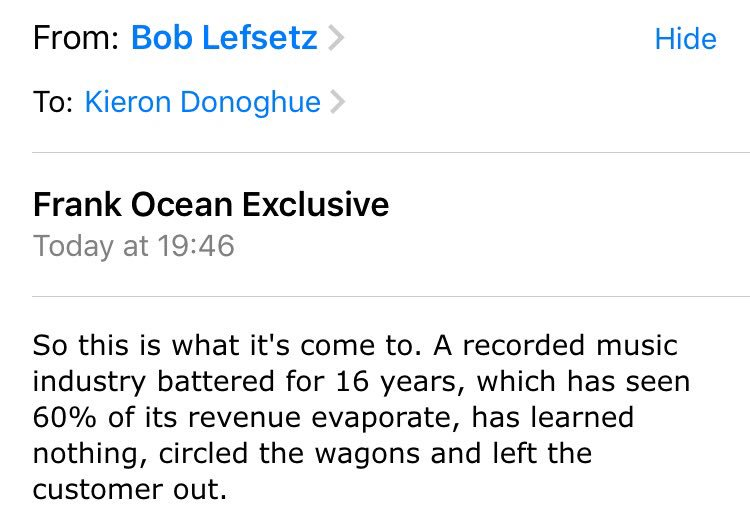 Bob is 100% right. Exclusives drive fans to piracy and damage the industry. Music should be everywhere. https://t.co/xcFbQJrOIW