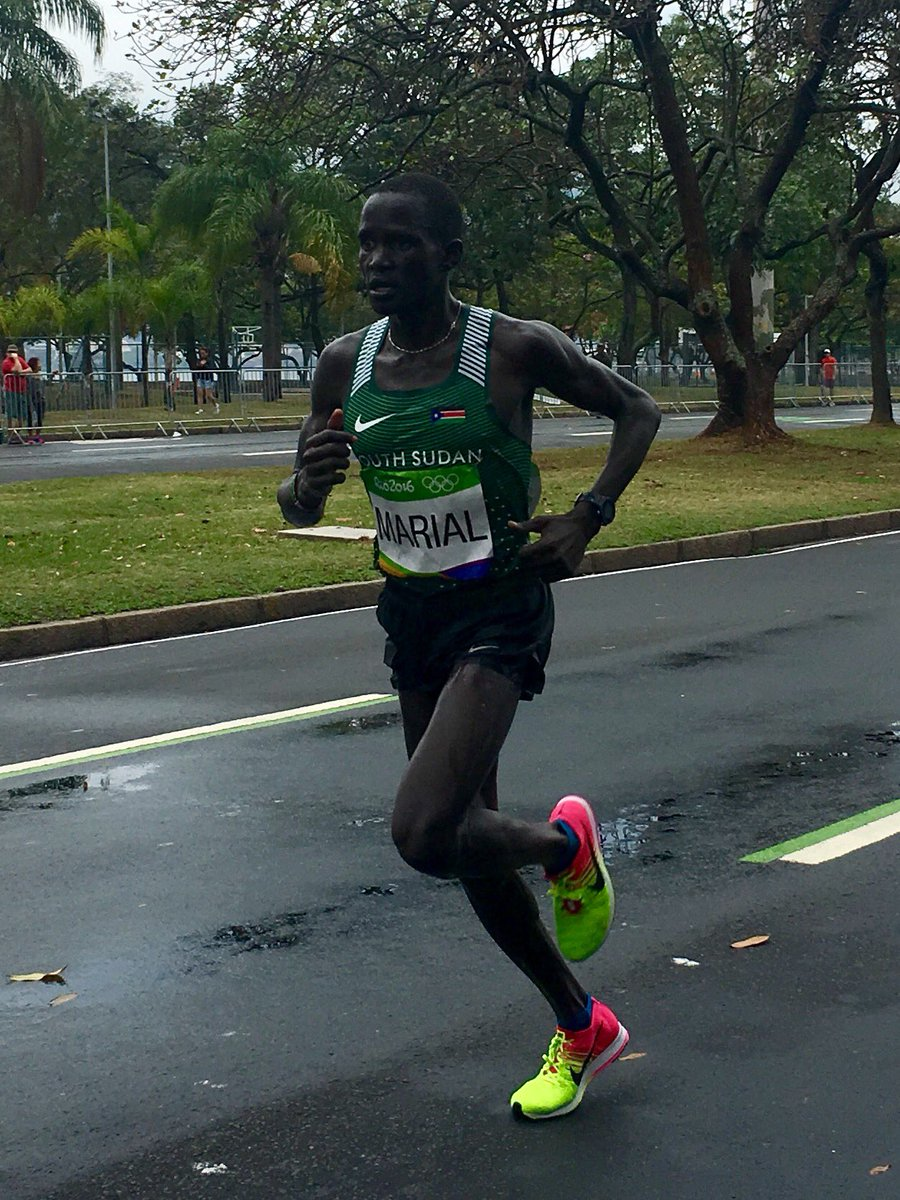 Gour Marial of South Sudan running #Rio2016 marathon now. He was once a slave and lost 28 family members to war. https://t.co/9bR0jHdky9