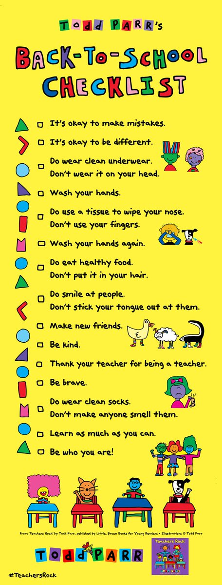 Here's my annual Back-To-School checklist. Have a great school year. #Love, Todd #TeachersRock! #ToddParrBooks https://t.co/yPsBRuBjN6
