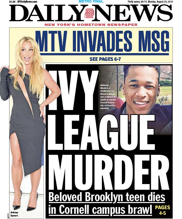 Tomorrow's front page:IVY LEAGUE MURDERBeloved Brooklyn teen dies in Cornell campus brawl