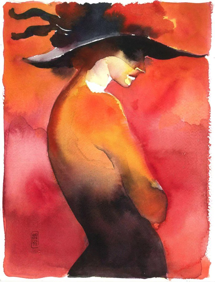 """Woman with Hat"" by Alessandro Andreuccetti @andreuccettiart https://t.co/y07tTrMwzV #TwitterFirstFriday #art https://t.co/oK318MXg4P"
