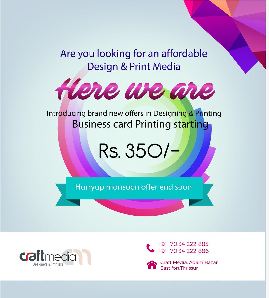 Craft media tcr on twitter 1000 visiting card rs 350 reheart Gallery