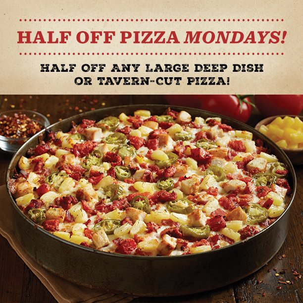 Bj S Restaurants On Twitter Make Monday Better With A Half Priced Pizza