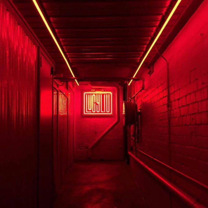 Red Neon Lighting Computer Room