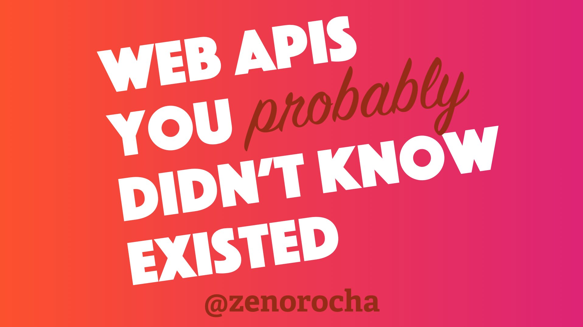 "My new talk ""Web APIs you (probably) didn't know existed"" is up! 🎥 https://t.co/TIRDOWyYZV 🖼 https://t.co/a110b6s03n https://t.co/kU1o0aAWCs"