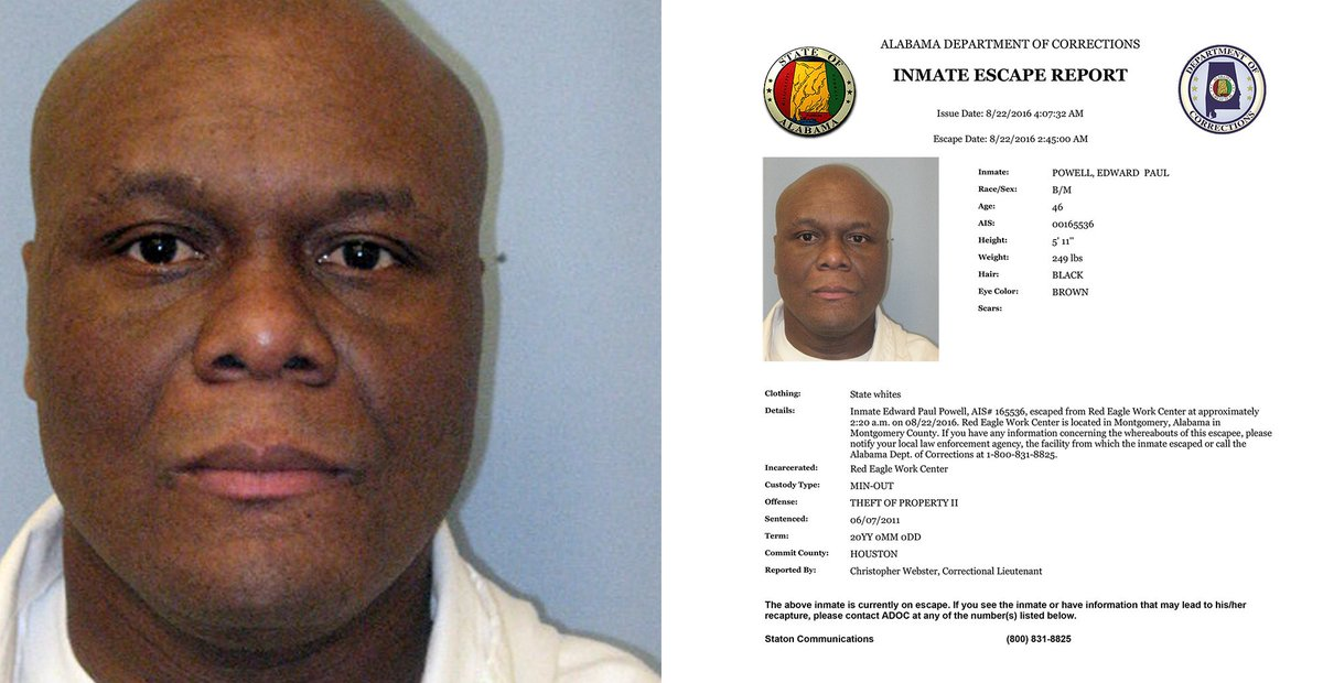Montgomery : ADOC searching inmate escaped center Montgomery