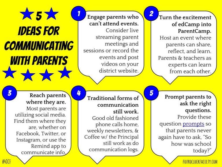 5 Ideas for Communicating w/Parents https://t.co/zBTR3fpvMQ #BackToSchool #4OCF @AJBianco @Kara_WWP @Kari_Yates https://t.co/ccvwyCAgCk