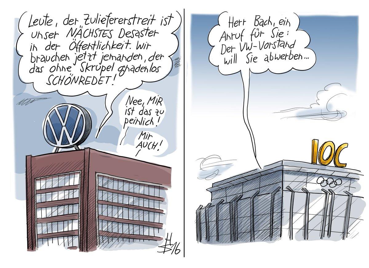 Nie waren PR-Profis so wertvoll wie heute! (Karikatur: Berliner Zeitung/Heiko Sakurai) #volkswagen #IOC #vw #bach