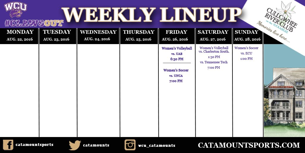 Catamount Weekly Line-up  (8-28-16)
