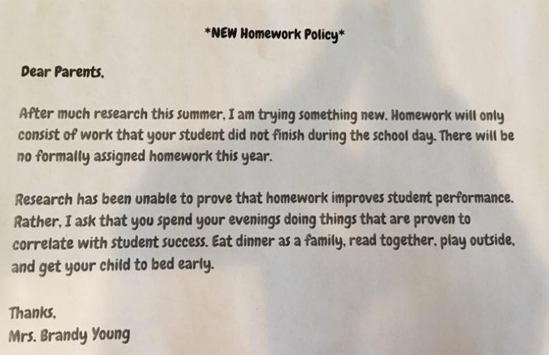 This second-grade teacher's unique homework policy is going viral https://t.co/90s2vceFiI https://t.co/xEqwTWnTvz