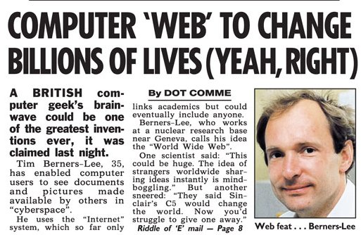 #InternautDay 25y ago Berners-Lee enabled computer users to see docs & pics made available by others in 'cyberspace' https://t.co/NK2HeW7lYg