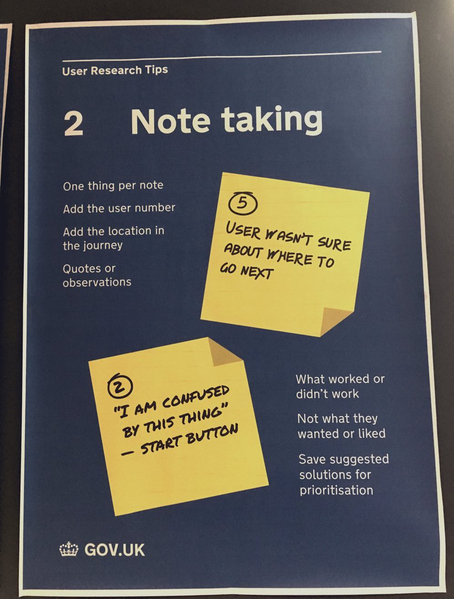 The art of the sticky note. Another golden #userresearch poster from GDS. https://t.co/w8p7Nzaxcq