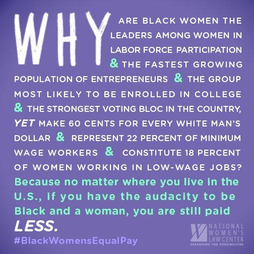 Black women and their work matter. It's time for #BlackWomensEqualPay https://t.co/5LBH2E6JbX