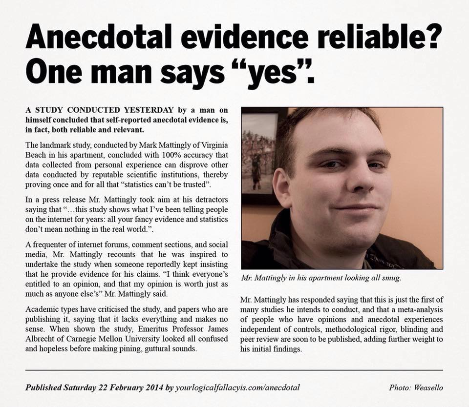 Anecdotal evidence is rife in the #hypnosis & #hypnotherapy world. This made me chuckle greatly, enjoy! #EBPrules https://t.co/BNYI8OVVky