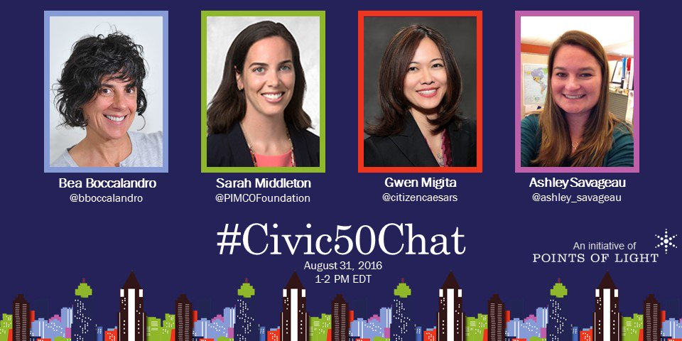 Join the 2016 #Civic50,  @BBoccalandro, @PIMCOFoundation, @CitizenCaesars, & @Ashley_Savageau for the #Civic50Chat https://t.co/GguK9AEwhy